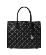 NWT Michael Kors  Mercer Leather Stud Silver Grommet Large Convertible T... - $179.99