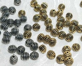 5mm Striated Fine Pewter Bead - 5.5x5x5mm; 2mm Hole image 2