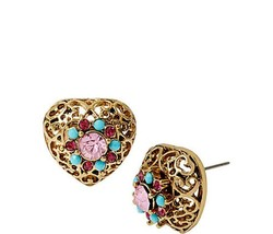 BETSEY JOHNSON TURQS AND CAICOS FILIGREE HEART STUD EARRINGS NWT - $24.19