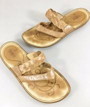 Born Womens 8 US 39EU Beige Leather Woven Strap Flip Flop Sandals - $35.77