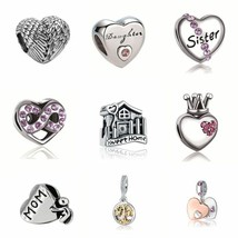 Heart Charm Silver Crystal Beads Pandora Love Mom Authentic Tibetan DIY ... - $2.44+