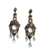 Victorian 3.02ct Rose Cut Diamond Blue Topaz Precious Wedding Earrings - $642.89