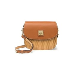 Dooney & Bourke Women's Leather Beacon Woven Small Saddle Crossbody Bag Natural - $168.25