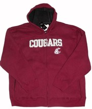 WA State COUGARS Thick Hooded Sweatshirt Faux Fur Fleece Lined Mens XXL ... - $46.99