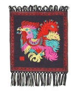 Vintage Embroidered Rooster Chicken Tapestry Wall Hang Home Decor Textil... - $34.64