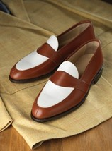 Handmade Men brown and white leather shoes, Men slip ons, Men formal shoes  - $149.99+