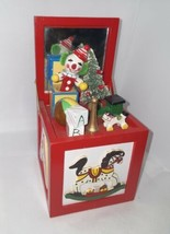 Vintage Wood Toy Chest Wind-up Music Box Christmas Clown Toyland - Great... - $14.85