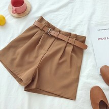 New caramel high waist pleated front women camel shorts with belt spring... - $36.00