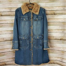 Lee Outerwear Womens Denim Trucker Long Coat Large Original Buttons Lined - $148.49