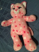 Build A Bear kitty cat 20 inch pink plush stuffed red & white heart Vale... - $25.99