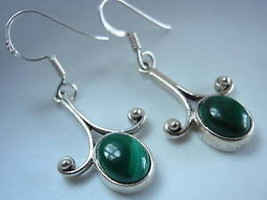 5ct MALACHITE Silver Dangle Earrings best offer - $17.81