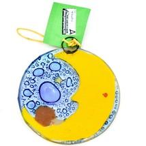 Fused Art Glass Hedgehog Sleeping on Moon Ornament Handmade in Ecuador image 2