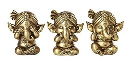 Set of Three Ganesha See No Evil Hear No Evil Speak No Evil Decorative Shelf Sit - $24.74