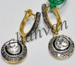 Victorian Look 1.32Ct Rose Cut/Polky Diamond 925 Silver Earring @CJUK322 - $6.056,38 MXN