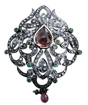 Victorian Style .925 Silver 2.92 C Rose Cut Diamond Unique Brooch @CJUK376 - $7.425,92 MXN