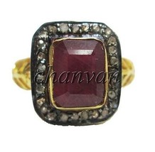 Antique Look Handmade 0.56Ct Rose Cut Diamond Sterling Silver Ruby Ring ... - €134,99 EUR