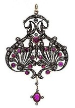 Antique Style 2.20 Ct Rose Cut Diamond 92.5% Silver Pendant/Brooch @CJUK150 - $315.55