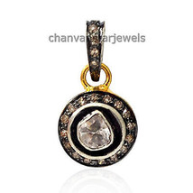 Antique Style Handmade 0.42Ct Rose Cut/Polki Diamond 925 Silver Pendant ... - $2.570,15 MXN