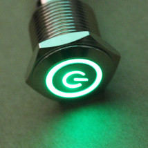 Car 12V 3A 16mm Green Symbol&Circle LED Metal Switch Push Button ON/OFF Sales - $4.72