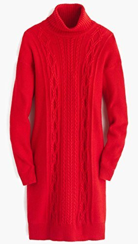 J. Crew Cable Turtleneck Sweater Dress (Small, Electric Red)