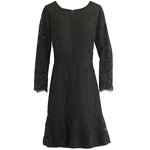 J. Crew Long Sleeve Floral Lace Dress (16, Black)