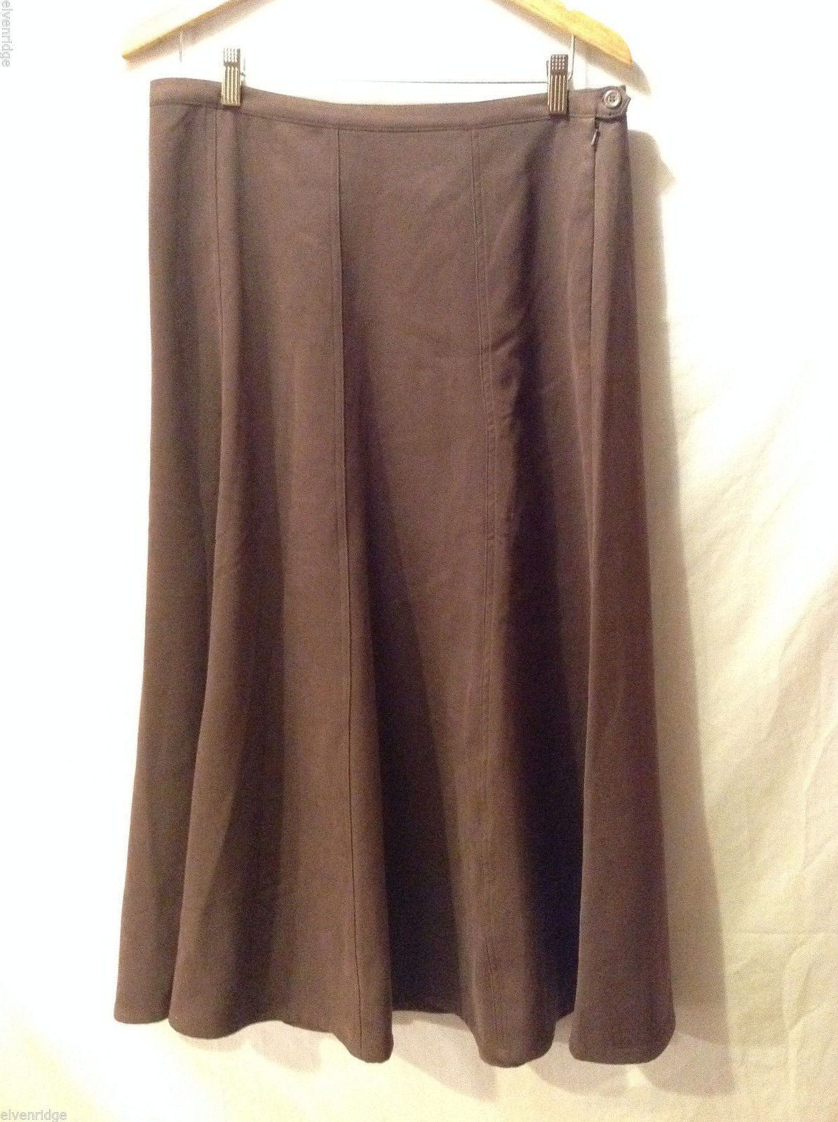 Denim & Co. Women's Size L Skirt Brown Suede-Like Maxi Length Side Button & Zip