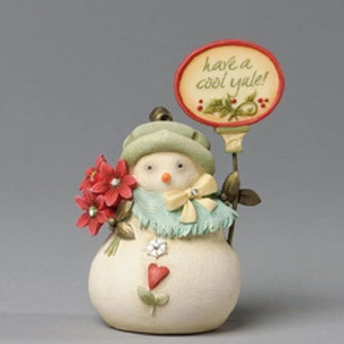 Snow Lady Heart of Christmas w sign Have a Cool Yule w poinsettia
