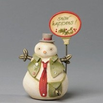 Snow Man Heart of Christmas w sign  saying Snow Happens with vest and crystals