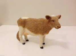 Light Brown and White Guernsey Cow Animal Figurine Recycled Rabbit Fur