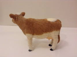 Light Brown and White Guernsey Cow Animal Figurine Recycled Rabbit Fur image 3