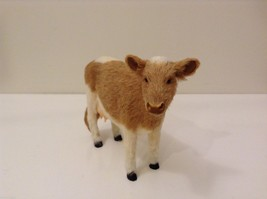 Light Brown and White Guernsey Cow Animal Figurine Recycled Rabbit Fur image 2