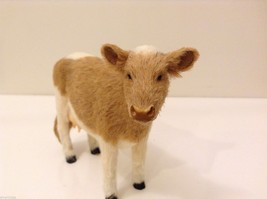 Light Brown and White Guernsey Cow Animal Figurine Recycled Rabbit Fur image 7