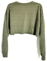 Forever 21 Olive Green Cut Slashed Distressed Holes Long Sleeve Cropped Top Sz M image 2