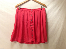 Xhilaration Women's Size L Pleated Skirt Coral Red Button-Down Front, Belt Loops