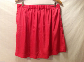 Xhilaration Women's Size L Pleated Skirt Coral Red Button-Down Front, Belt Loops image 2
