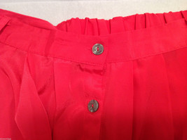 Xhilaration Women's Size L Pleated Skirt Coral Red Button-Down Front, Belt Loops image 5