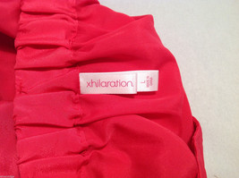 Xhilaration Women's Size L Pleated Skirt Coral Red Button-Down Front, Belt Loops image 3