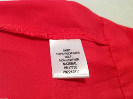Xhilaration Women's Size L Pleated Skirt Coral Red Button-Down Front, Belt Loops image 4