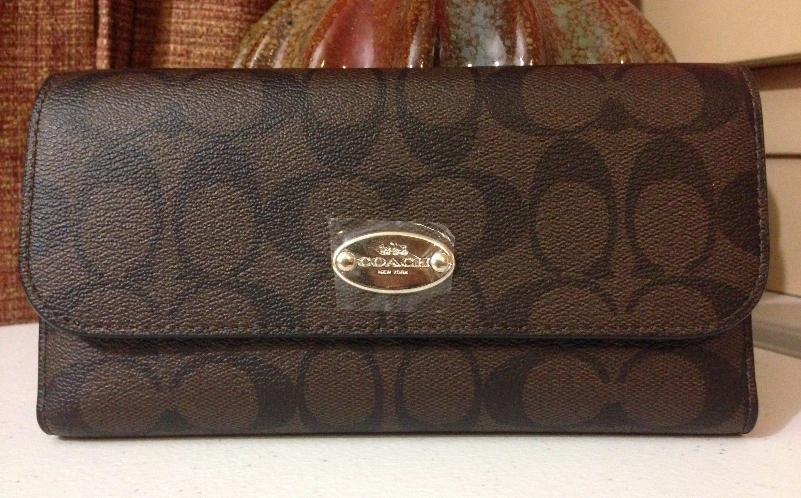 NWT Coach Signature PVC Checkbook Wallet F52681 IM/Brown/Black MSRP $250