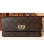 NWT Coach Signature PVC Checkbook Wallet F52681 IM/Brown/Black MSRP $250 - $139.99