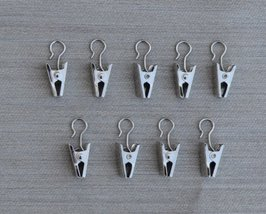 Urbanest 24 Curtain Hooks with Clips, Satin Nickel - $6.91
