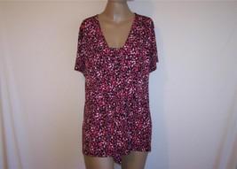 ALFANI Plus Sz 1X Shirt Top Spandex Stretch Short Sleeve Red Pink Black ... - $13.06