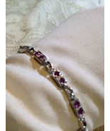 Nemesis Vintage Antique Small Ruby 92.5% Sterling Silver 7 inch Tennis B... - $56.10