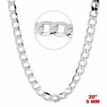 New Italian 14k White gold Rhodium on 925 Sterling Silver Curb Chain- 5 ... - $32.58