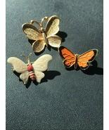Vintage Lot of 3 Small Orange & Black Enamel Monarch SARAH Signed Goldto... - $15.79