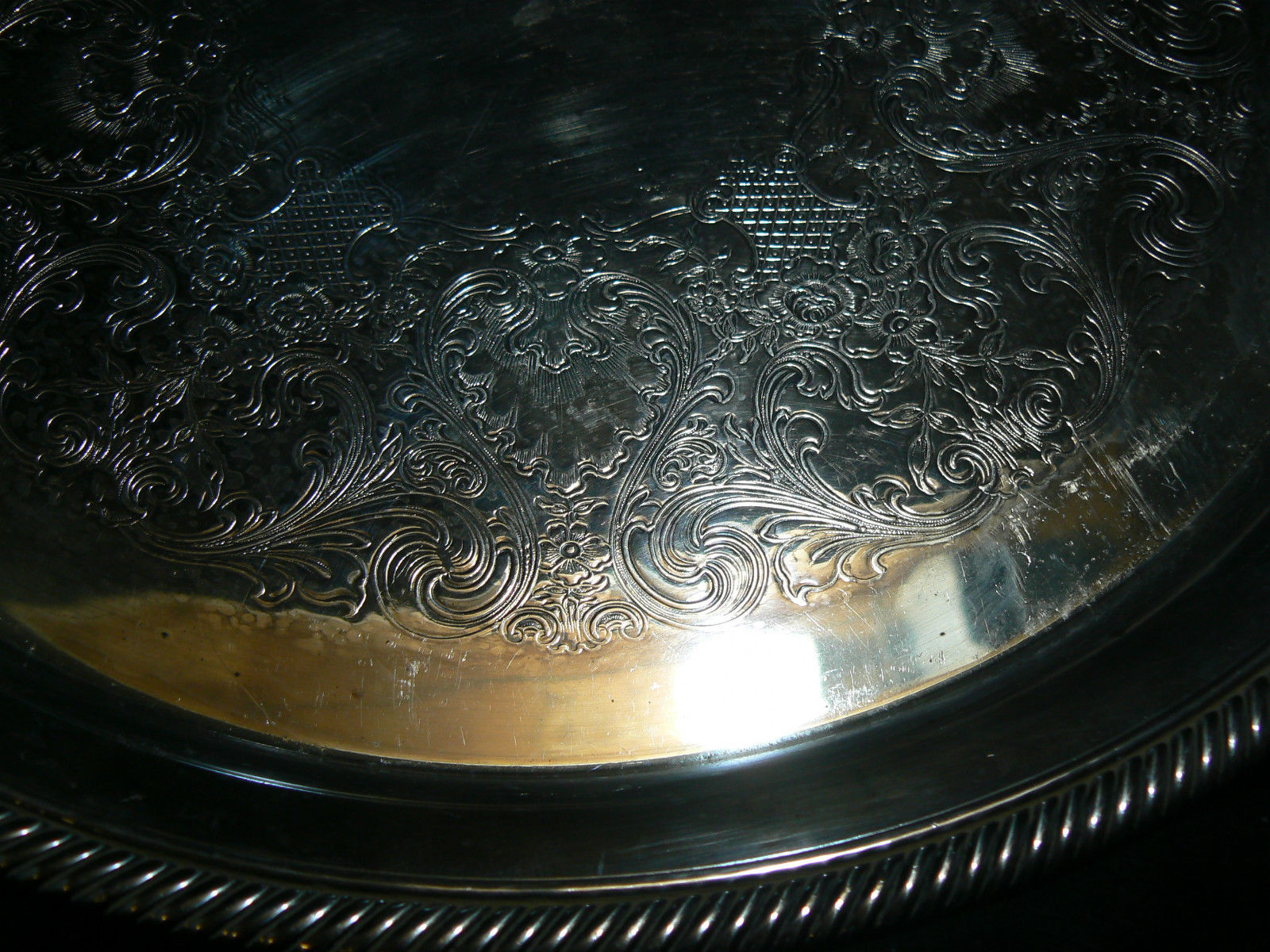 Vintage International Silver Silverplate Castleton Pat Large Round Serving Tray