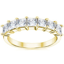 1.05ct Square Brilliant Cut Moissanite 7 Stone Wedding Band Ring 14k Yellow Gold - $558.96