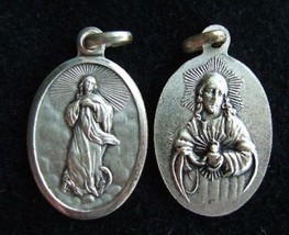 Vintage Catholic Medal Assumption of Mary into Heaven + Sacred Heart of Jesus - $13.09