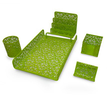 Majestic Goods 5 Pieces Green Flower Designed Punched Metal Mesh Desk Set - €30,47 EUR