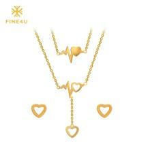 2018 New FINE4U N007 316L Stainless Steel Jewelry Sets For Women Heart Pendant N - $16.81
